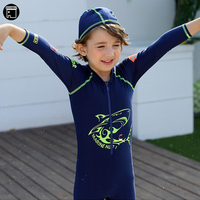 USEEMALL One Piece Swimwear 2 15Y Cartoon Shark Swimming Suit for Kids Children Boys Bathing Suits Clothes Swimsuit With Cap