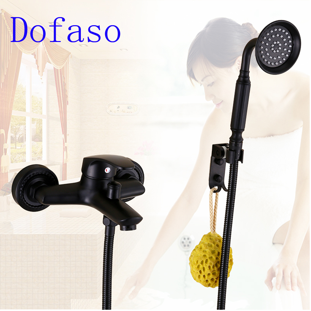 Dofaso all brass retro wall mount bath black shower faucet Mixer Tap with Hand Shower set