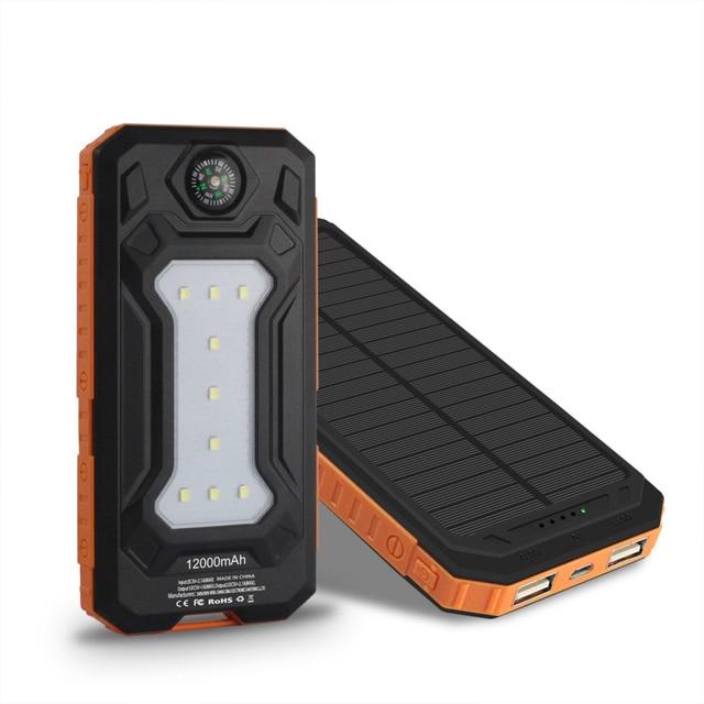 Путешествия Солнечной Энергии Банк 12000 мАч Dual USB Солнечная Батарея Портативное Зарядное Устройство powerbank С LED Лагерь Свет + 1 м телефонный кабель