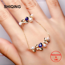 SHIQING Boutique real 18K gold nature Sapphire gemstone twining leaf branch vintage pearl diamond ring