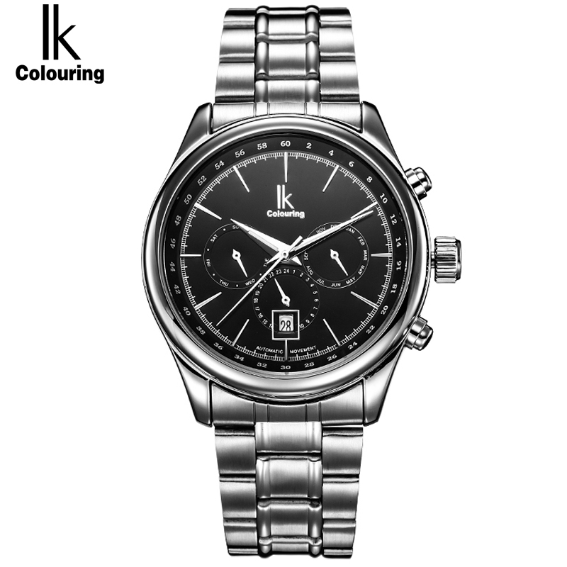 IK Automatic self wind Sub Dial 6 Hands 24 Hours Function Men's Watch Stainless Steel Multifunction Watches Relogio Masculino ik brand fashion men watches silver full stainless steel automatic self wind watch men multi function clock relogio masculino