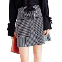 Casual Skirts for Women Double Pockets Short Mini Skirt 2017 Autumn Winter Lace Up Elastic Waist Stripe Office Lady Skirt Female