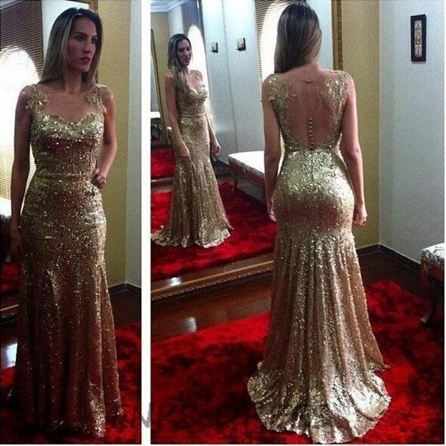 Glitter Champagne Gold Sequin Mermaid Bridesmaid Dresses with Tail See  Though Back Prom Party Dress vestido 0f347593c668