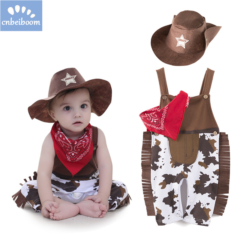 Baby boy romper sets costume infant toddler cowboy clothing 3pcs Sets hat+scarf+romper Halloween purim event birthday outfits