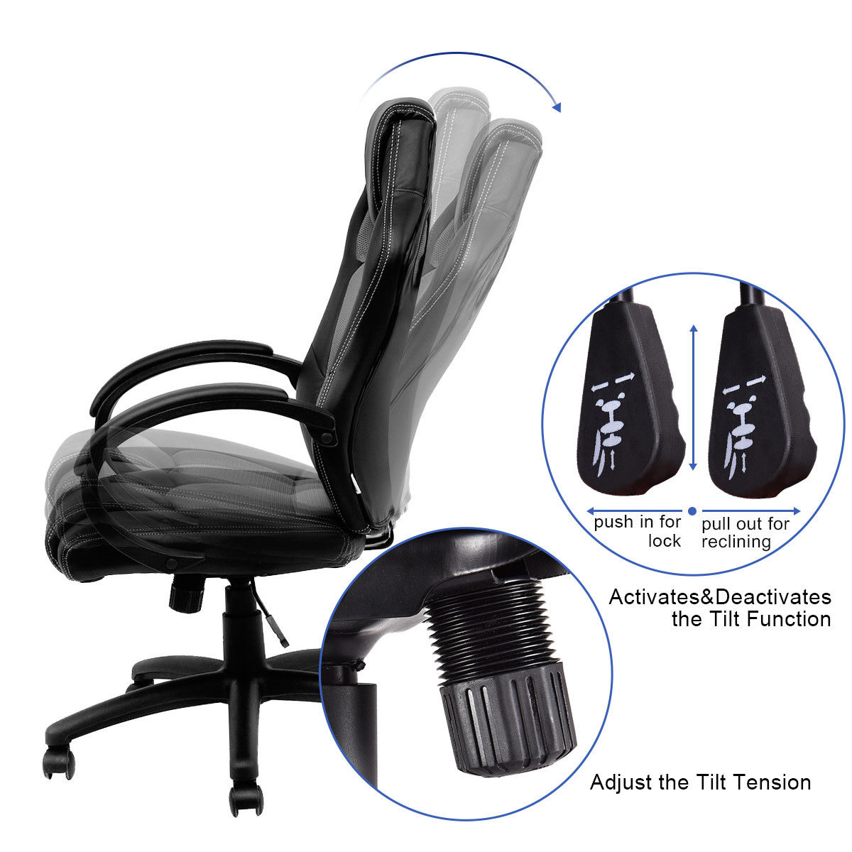 Bucket Racing Chair Metal Arm Covers Giantex High Back Pu Leather Seat Office Computer Desk Gaming Swivel Executive Furniture Hw54590gr In Chairs From