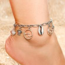 Boho Shell Wave Turtle Pendant Anklets For Women Silver Color Conch Starfish Anklet Bracelets On The Leg Bohemian Foot Jewelry(China)