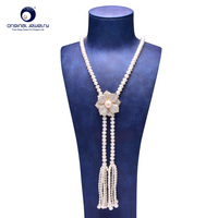 YS Fine Jewelry 8 9mm Natural White Freshwater Cultured Pearl Sweater Necklace For Women 65cm