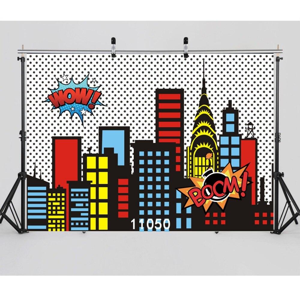 SJOLOON party background super hero city scene photography background kids photography backdrops vinyl for photocall studio prop