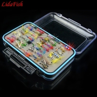 64pcs Fly Fishing Lure Flies Trout Lures Flies Nymphs Ice Fishing Lures Artificial Bait with Waterproof Pesca Box