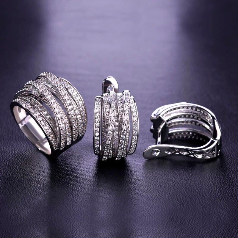 Blucome AAA CZ Zircon Earrings Ring Set Copper Jewelry Sets Prong Setting Rhinestones Wedding Women Rings Big Size Love Earrings