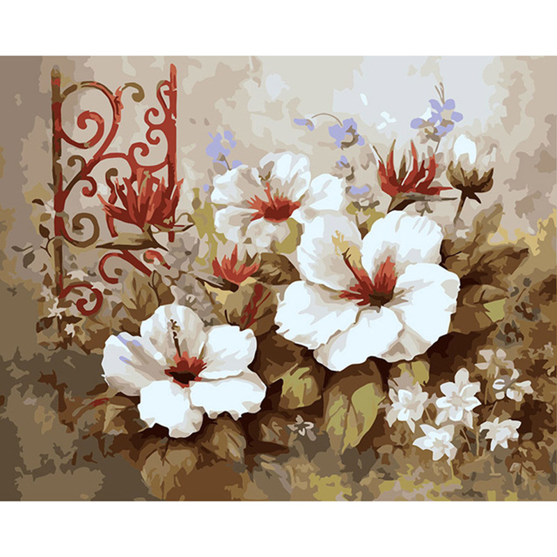 Frameless Canvas Art Oil Painting Flower Painting Design: Frameless Picture Painting By Numbers Wedding Decor DIY