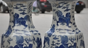 china Blue&White porcelain Depict foo dog lion Zun Cup Bottle Pot Vase Jar pair