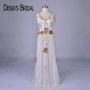 Image 1 - 2018 Luxury Beaded Evening Dresses Real Image V Neck Sheath Floor Length Gowns