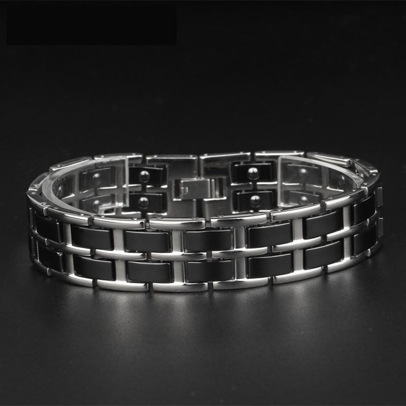 Titanium Steel Men 39 s Bracelet Broadband Domineering Ceramic Handwear Fatigue resistant Health Care Stainless Steel Jewelry in Chain amp Link Bracelets from Jewelry amp Accessories