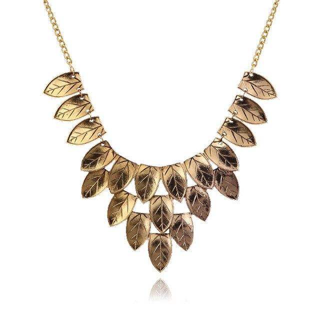 Купить женское винтажное длинное ожерелье lzhlq многослойное с листьями