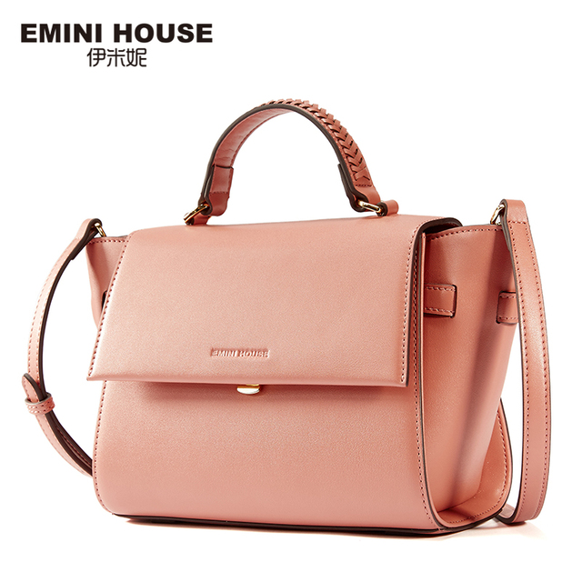 EMINI HOUSE Stylish Knitting Handle Shoulder Bag Split Leather ...