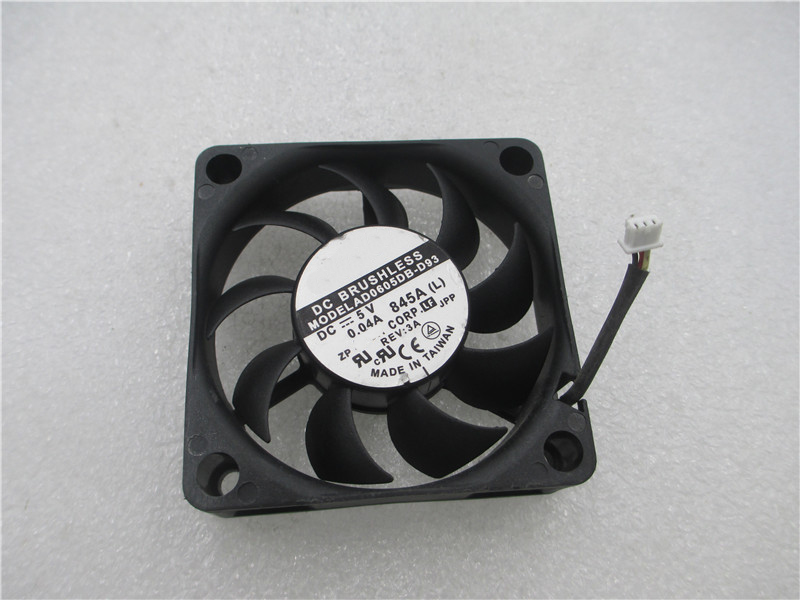 2PCS <font><b>fan</b></font> for ADDA AD0605DB-D93 6CM 6015 <font><b>60mm</b></font> 0.04A <font><b>5V</b></font> Dual ball axial cooling <font><b>fan</b></font> image