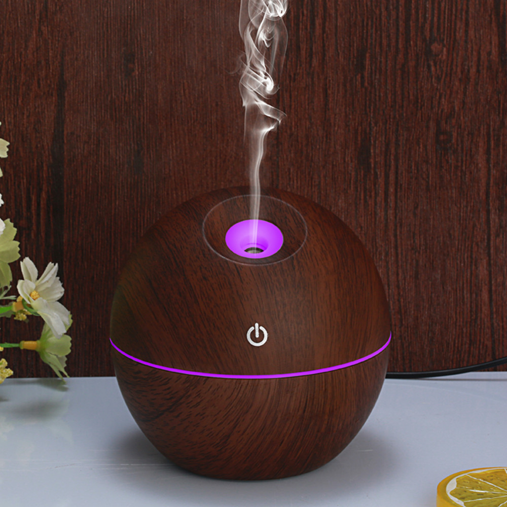 130ML Wood Grain Humidifier With Slant Nozzle USB Charging Aroma Essential Oil Diffuser With Colorful LED Night Light