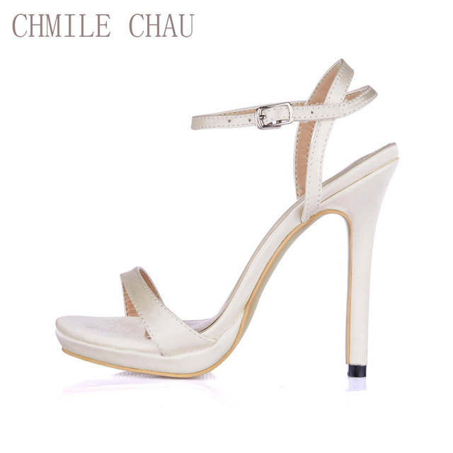 CHMILE CHAU Ivory Satin Bridal Party Women Shoes Stiletto Heel Ankle Strap  Buckle Sandals Plus Sizes 10 Zapatos Mujer 0640ASL-A3 d95e2eedc6c7