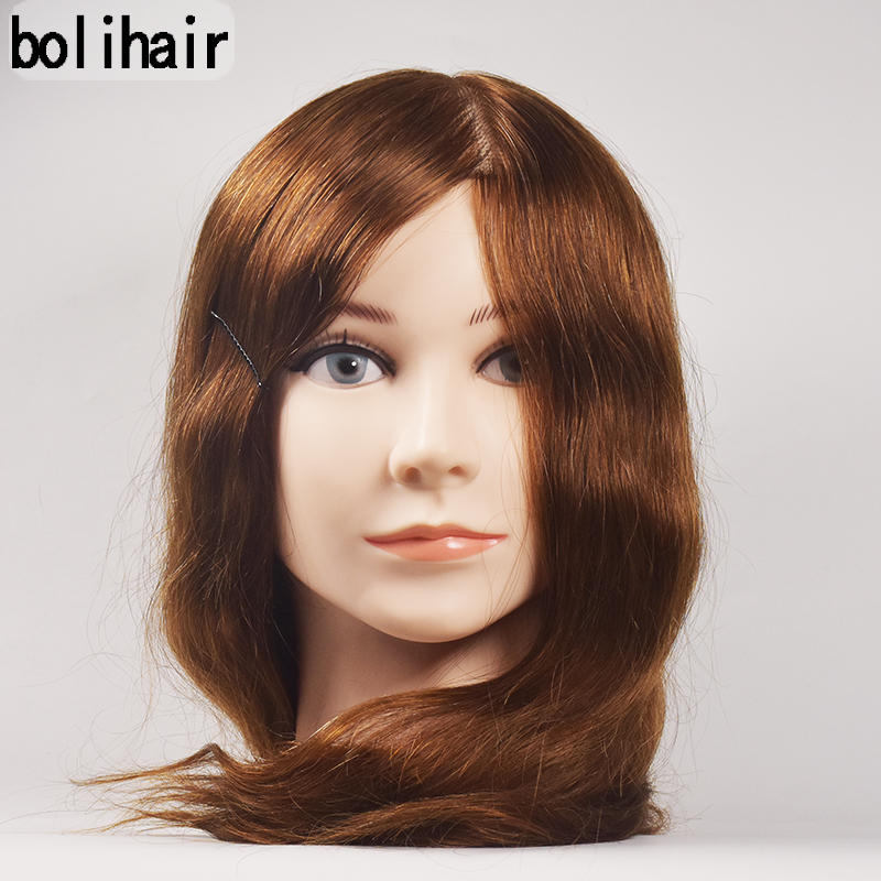 16Inch 100% Human Hair Mannequin Training Head Salon Hairdressing Practice Cosmetology HairStyling Training Head Free Clamp