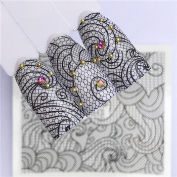 2018 the New Watermark Fingernail Sticker Sexy Black Lace Lace Nail Applique Decorations. Nail Sticker Hot Selling GoodsA643 Маникюр