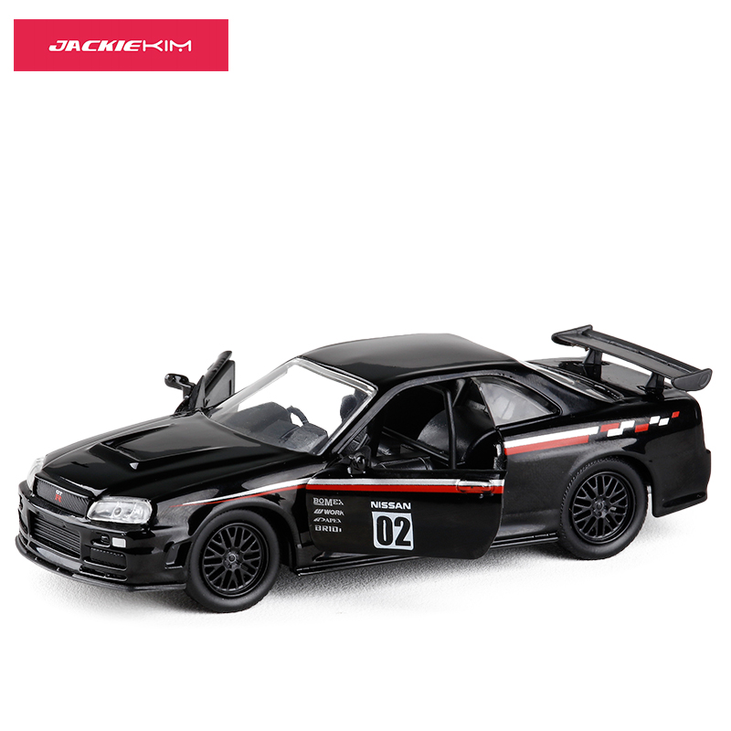 JADA 1/32 Scale Car Model Toys JAPAN JDM Series Nissan GT-R R34 Diecast Metal Car Model Toy For Collection/Gift/Kids