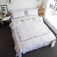 luxury embroidery letter black white cotton Duvet covers set 4pcs bedding set duvet covers Queen/King size,bedclothes bedlinen