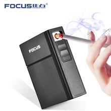 Metal Cigarette Case Box with USB Electronic Lighter 20pcs Waterproof Cigarette Storage Holder Box P