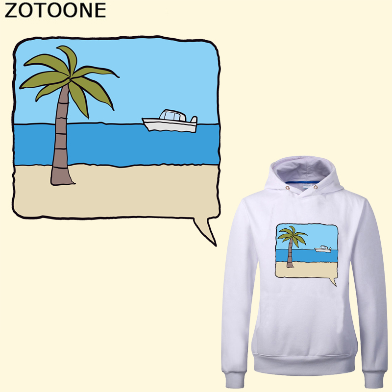 ZOTOONE Palm Tree Patch Iron on Transfers for Clothes T-shirt Applique Heat Transfer Vinyl Washable Sticker DIY Patches