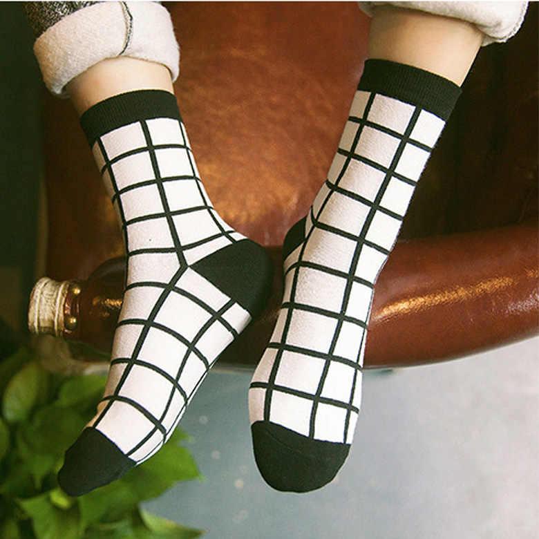 10 комплектов, Женские Классические носки в клетку «гусиные лапки», хлопковые носки Harajuku, Женские винтажные белые черные носки в клетку, носки-трубы в полоску Sx Meias