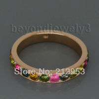 Colorful Band Ring Vintage Solid 18kt Rose Gold Natural Tourmaline for Women Engagement Jewelry Gift WU027