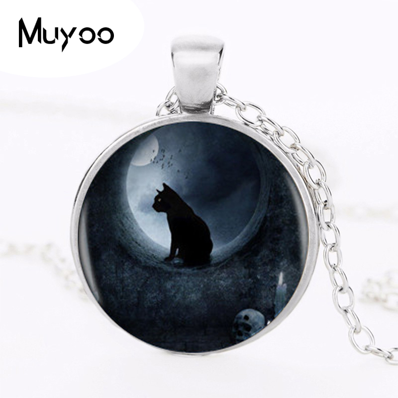 Cat Logo Pendant Necklace Different Styles Moon Charm Handmade Round Necklace For Women Men Round Photo Necklace HZ1
