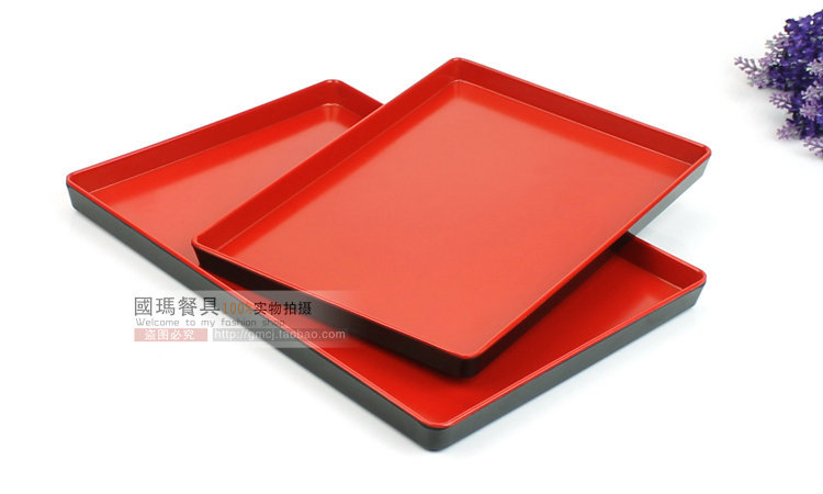 2pc Lot Free Shipping Anese Style Black Red Storage Tray Plastic Square Food Container Melamine Hotel Party Dinner Traies In Trays From Home