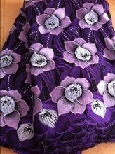 Free Shipping Purple High quality wedding lace African Fabric lace with stones 5 Yards 100% Cotton Swiss Voile desses B0188a