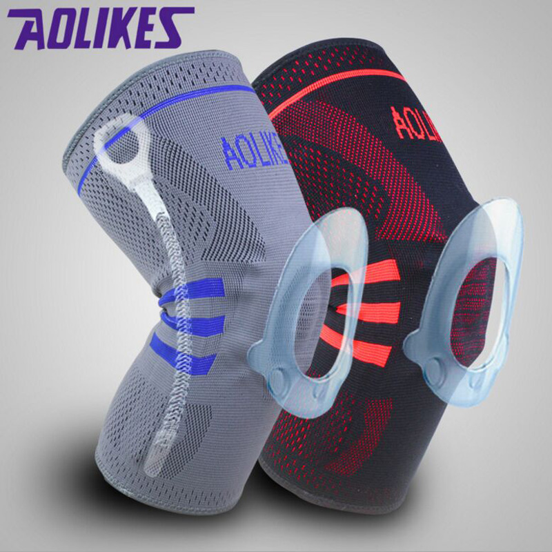 Nylon Silicon Weightlifting Knee Sleeve Knee Brace Running Basketball Volleyball Knee <font><b>Pad</b></font> Protector Injury Prevention From ACL