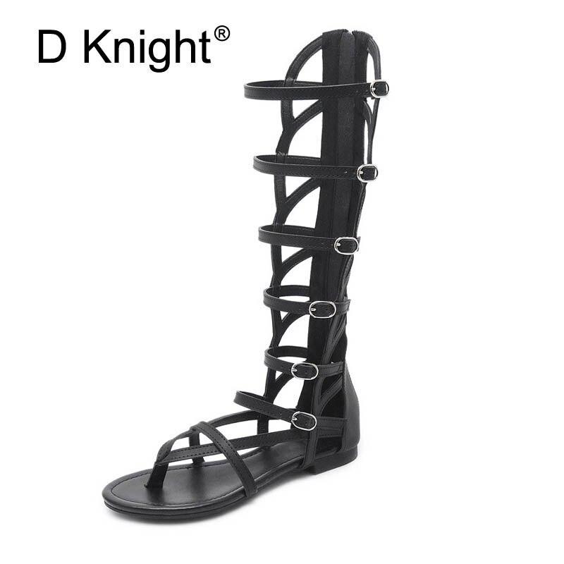 Vintage Pu cuir plat tongs pour femmes dames décontracté plat Rome chaussures d'été haut Top découpes gladiateur sandales pour femmes