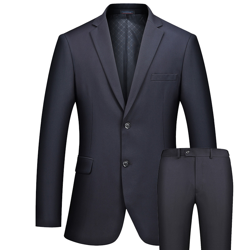 Mens Business Suits Slim Fit Two Buttons Quality Fashion Suits Casual Suits Set Bridegroom Wedding Dress Suits Dark Blue FS-096