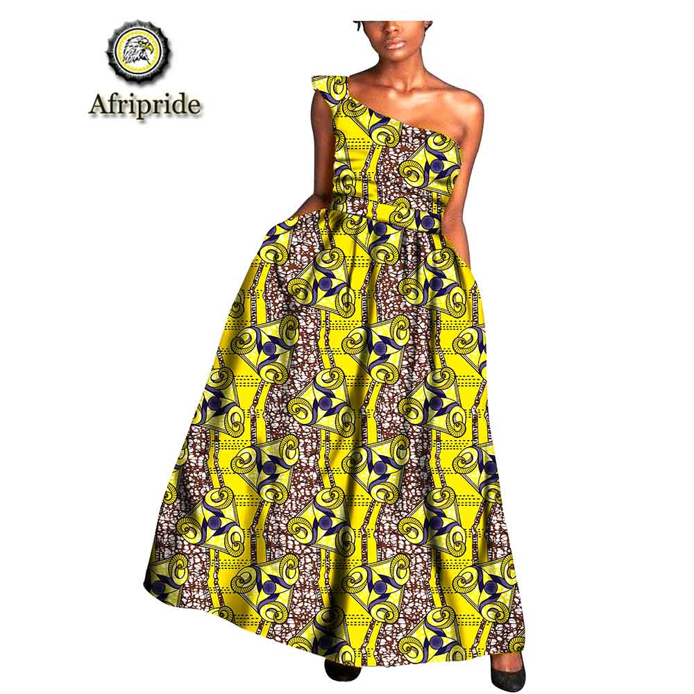 2018 2019 African women dress pure cotton bazin riche one shoulder Longuette African ankara print dashiki AFRIPRIDE S1825036 in Dresses from Women 39 s Clothing