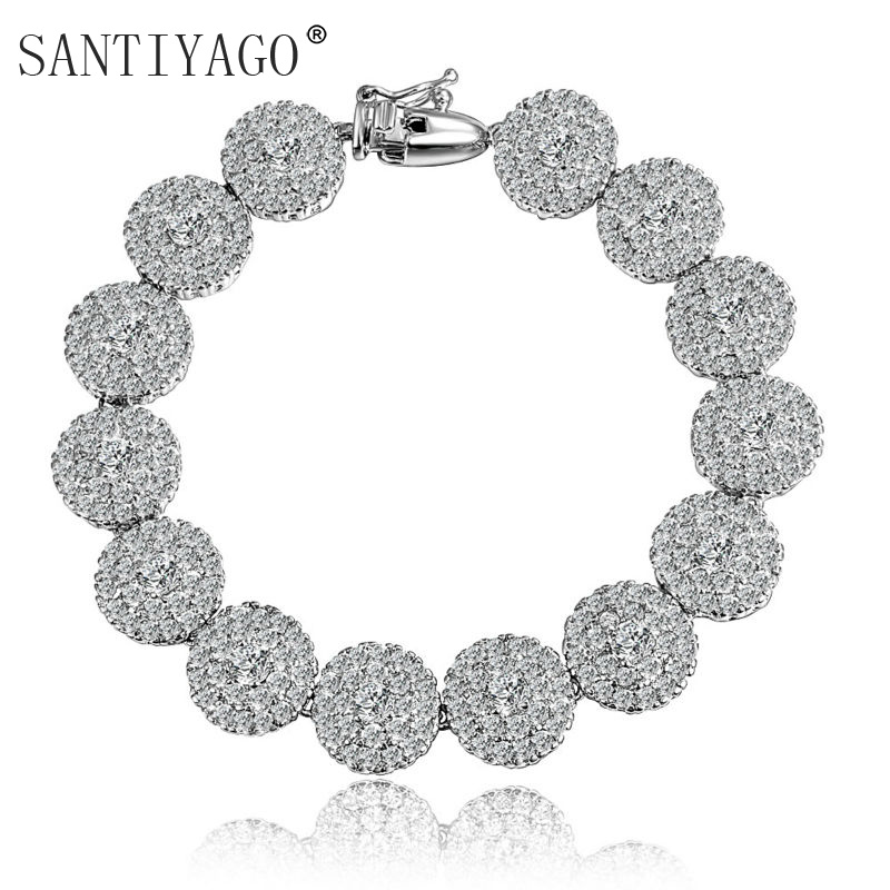 Pave Setting Zircon Inlay Top White Gold Plating Bracelet for Women Wedding Engagement Bracelet Women