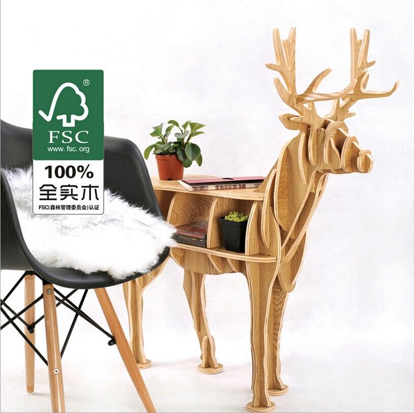 Webetop Deer Desk Living Room Coffee Table Wooden Home Furniture Book Shelf Unique Wood Gift Craft Embled Storage Cabinet