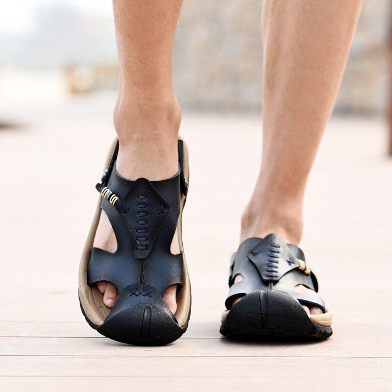 2017 sommer Männer Sandalen Handarbeit Aus Echtem Leder Hausschuhe Zwei Way Tragen Atmungs Strand Schuhe Weich Hart-Falten Alias