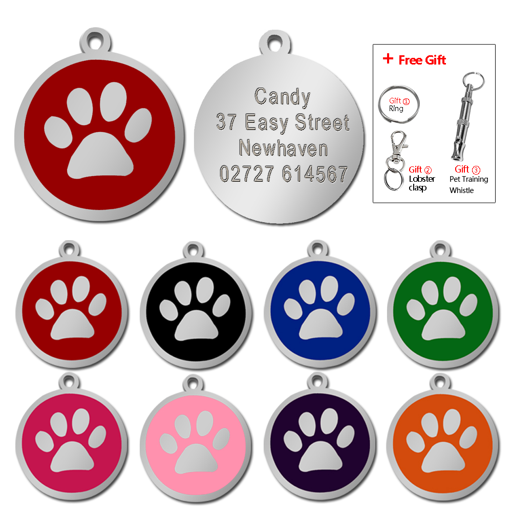 Customized Dog ID Tag Pet Personalized Tags Engraved Round Paw Pet Nameplate Pendant For Dogs & Cats With Free Gift Whistle
