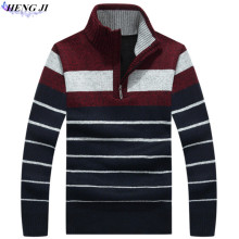 Men's pullover pullovers, thickened and fleeced fleece pullover, straight – tube stripe knit sweater, winter warmth,high qualit
