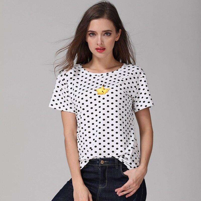 4477b4161b214f 2018 Ulzzang Short Sleeve Dots T Shirt Women O-neck Camiseta Feminina  Tumblr Tops Harajuku Kawaii Anime Pokemon Pokemon Tshirts
