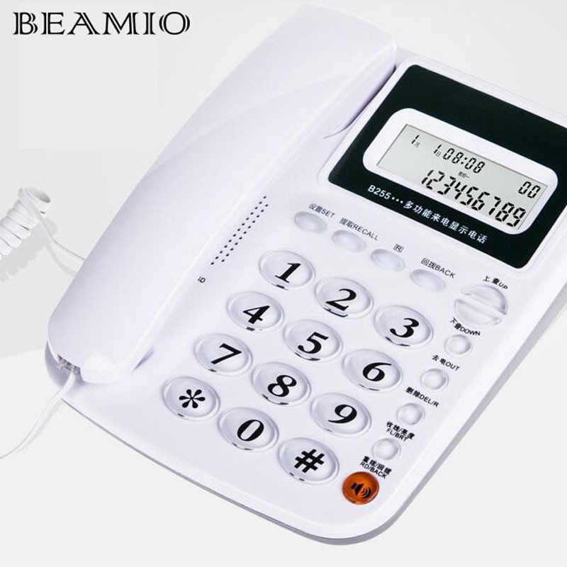 Call ID Redial Landline Phone With DEL Hold For Home Hotel Office Wired Telephone Without Battery White Red Blue