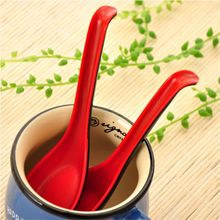 Black Red Plastic Spoon Home Flatware Porridge Bowl Chinese Dinner Spoon Japanese Soup Spoon for Home Restaurant kitchen tools