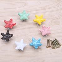 1Pc Starfish Cabinet Knob Handle Ceramic Door Cupboard Drawer Kitchen Pull Home Decor Hardware