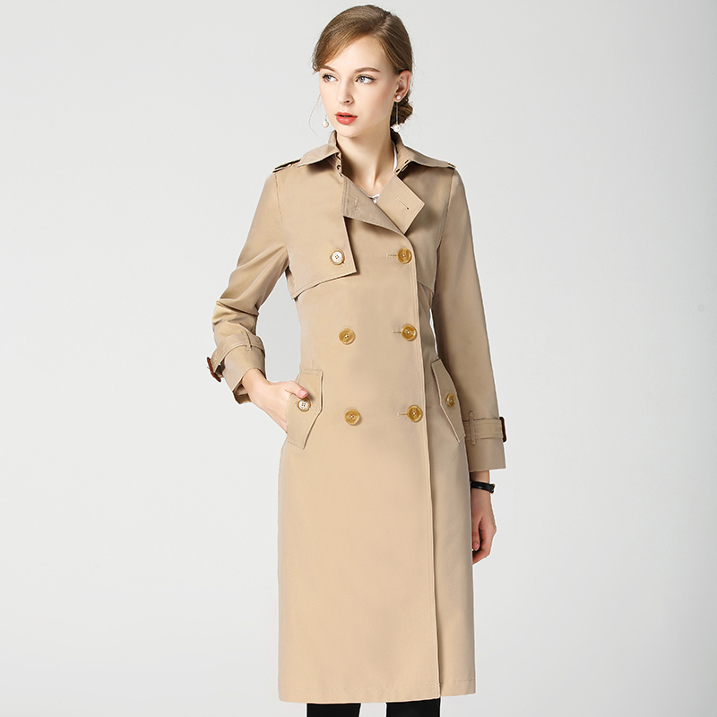 Long Trench Coat For Women 2018 Autumn Winter B brand Outerwear Waterproof Loose Coat Fashion Color Gradient trench