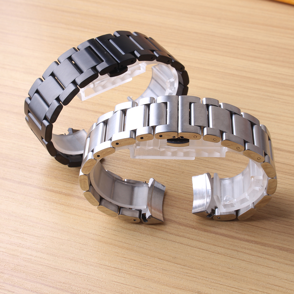 22mm Bracelet pour Samsung Vitesse S3 Classique frontière Montre Smart Watch Bande solide Liens Bracelet curved end en acier spécial mat