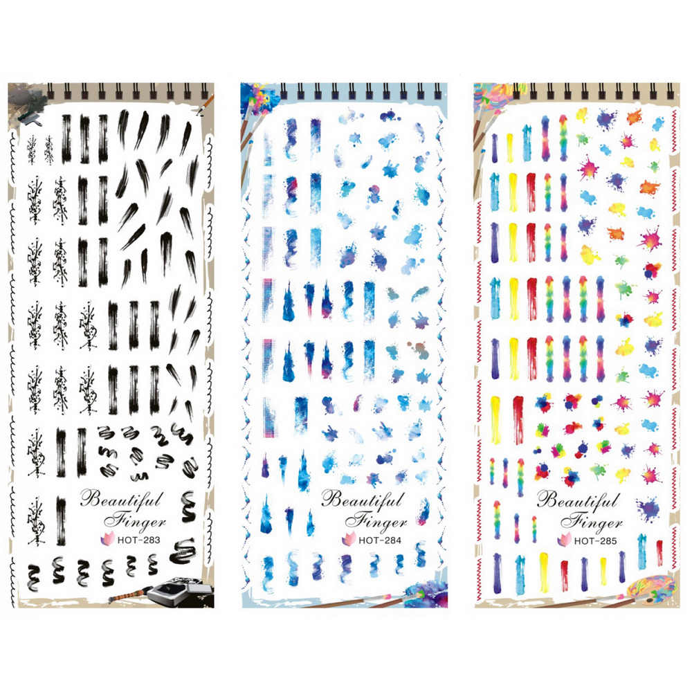 3 PACKS/LOT ABTRACT SCHILDEREN GRAFFITI NAIL TATTOOS STICKER WATER DECAL NAIL ART HOT283-285